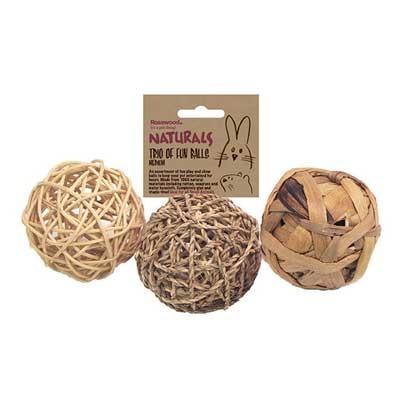 Rosewood juguete kit 3 pelotas para conejos, cobayas y roedores