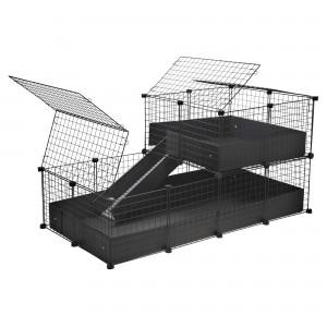 CagesCubes - Jaula CyC Deluxe 2X4 con Loft 2X2 para conejos