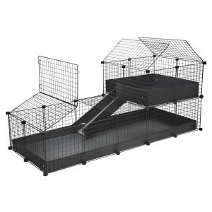 CagesCubes - Jaula CyC Deluxe 2X5 con Loft 2X2 para conejos