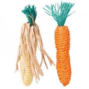 Trixie Juguete de cuerda paja para roer forma maiz y zanahoria