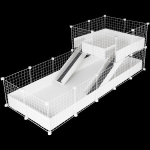 CagesCubes - Jaula CyC Deluxe PLUS 2X5 con Loft 2X2 para cobayas