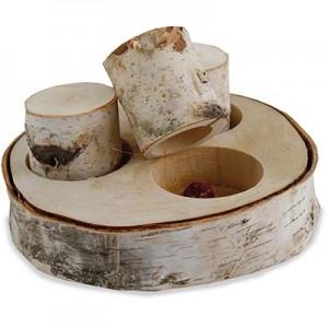 JR FARM Juguete inteligencia tronco madera + 3 cubiletes para conejos