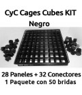 CagesCubes - KIT negro para Jaulas CyC (28 paneles-32 conectores-50 bridas)