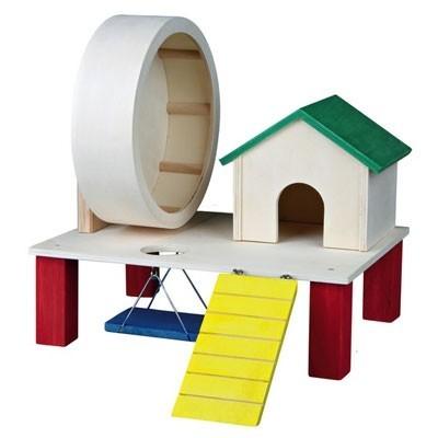 Trixie Casita con rueda de ejercicio y parque de juego para hamsters