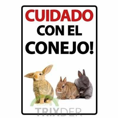 Cartel Cuidado con el Conejo de roedorespark