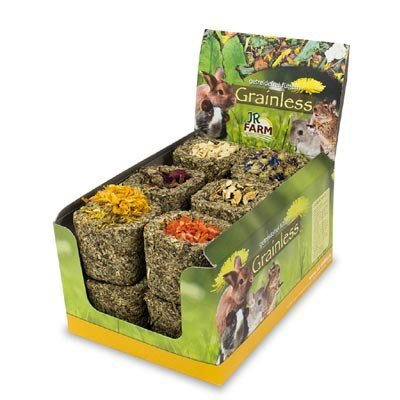 JR FARM Grainless Cuenco de heno relleno de flores para roedores